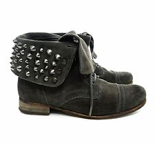 AllSaints Grey Suede Studded Cuff Military Combat Ankle Boots Lace Zip Grunge 38