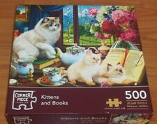 Corner Piece Kittens and Books jigsaw Puzzle 500 pieces  VGC