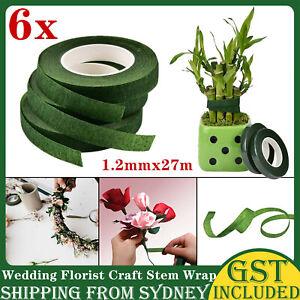 6 Rolls Wedding Florist Craft Stem  Wrap Eco Floral Paper Tape Waterproof 27m AU