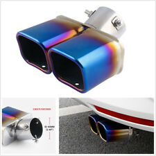 """2.5"""" Chrome Colorful Blue Stainless Steel Car Dual Exhaust Pipe Modification Kit"""