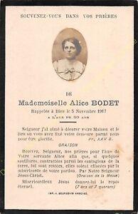Généalogie Avis de décès Mademoiselle ALICE BODET 05 11 1917