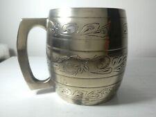 Vintage silver plater engraved tankard.