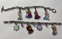 "2 Frozen Anna & Elsa Olaf Girls Charm Bracelets Disney Princesses Silver Tone 6"""
