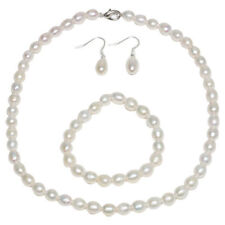 NEW 8-9MM Cultured Freshwater White Pearl Necklace Bracelet & Earring Set