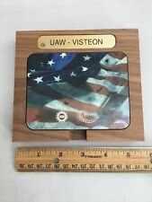 Vintage UAW VISTEON COASTER SET OF 4 WITH HOLDERS Solidarity House