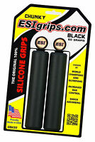 ESI Chunky BLACK 100% SILICONE Mountain Bike Grips shock absorbin 130mm 60g 32mm