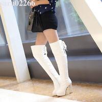 Women's Ladies Zip High Heel Platform Over Knee Boots Shoes AU Plus Size 2-9