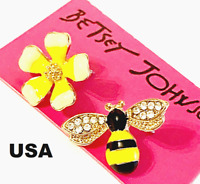 US Seller Betsey Johnson Crystal Bee Flower Stud Earrings Yellow Fashion Jewelry