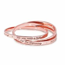 Disney Official Rose Gold-plated Triple Interlocking Tinkerbell Message Bangles