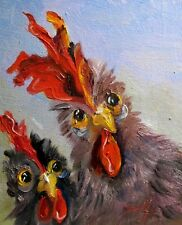 Delilah Two Chickens original farm birds oil painting art 10x8 whimsical