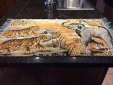 Vtg Elephant Tiger Hunt Rug Tapestry Wall Hanging Hunting Scene