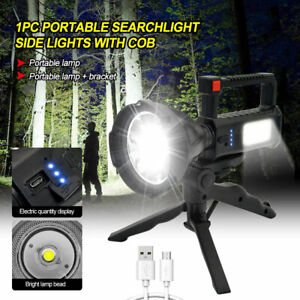Waterproof LED Searchlight Spotlight USB Rechargeable Hand Torch Work Light Lamp