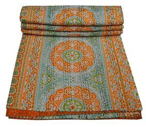 Indian Kantha Quilt Bedspread Reversible Bedding Throw 100% Cotton Mandala Print
