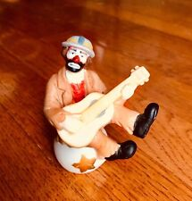 Flambro Porcelain Figurine Clown Hobo Emmett Kelly Jr Sitting With Guitar RARE