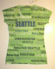 Womens Seattle V-Neck Tee Small Green with Rhinestone Accents New NWT