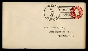 DR WHO 1934 NAVAL USS FARRAGUT SHIP FIRST DAY CANCEL STATIONERY C243932