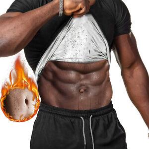 Men's Sauna Suit Sweat Hot Tank Top Workout T-Shirt   Body Shaper Waist Trainer