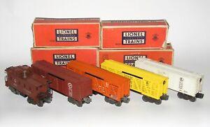 Lot of (5) Lionel Postwar Freight Cars 6454 6656 6472 3656 6457 OB (DAKOTApaul)
