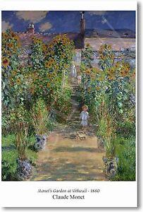 Monet's Garden at Vétheuil - 1880 - Claude Monet - NEW French Art Print POSTER