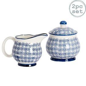Porcelain Milk Jug & Sugar Pot Bowl Set - Patterned Blue Flower Print