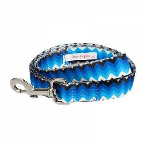 Haus of Harley Electric Chevron dog lead leash - Blue, Black, White - 2 sizes
