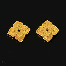 6mm 18k Solid Yellow Gold Fancy Floral Bead Cap Finding PAIR