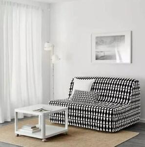 IKEA LYCKSELE COVER for LYCKSELE Sleeper Sofa, Ebbarp Black-white, #103.245.94