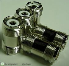 FIVE (5) HIGH QUALITY UHF DOUBLE FEMALE BARREL CONNECTORS DOUBLE SO239 FOR PL259