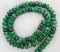 Green 5x8mm Faceted Emerald Roundel Loose Beads Gemstone Strand 15""