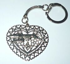 Hearts and Flowers Keyring Keychain, Sp Greyhound or Whippet Dog