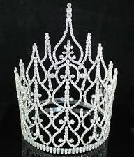 BEAUTY QUEEN CROWN TIARA CLEAR AUSTRIAN RHINESTONE CRYSTAL PAGEANT LARGE T1413