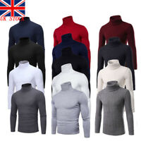 UK Men Cotton /Knit TurtleNeck Sweater Stretch jumper Pull Over M-2XLThin-Thick