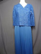 6P Petite Alex Evenings 3/4 sleeve Royal Blue V-neck Lace Dress