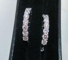 3.90 carat Round cut Diamond 14k White Gold Hoop Earring 26 x .15 ct, 3/4 inch