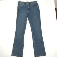 Aura Womens Blue Jeans Medium Wash Boot Cut Size 10 / 12 Tall Long 33x33