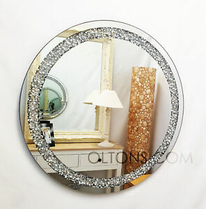 Gatsby Round Crushed Diamond Crystal Glass Frame Bevelled Wall Mirror 70cm