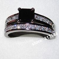 18K White Gold Filled Princess Cut Lady Women Wedding Engagement Bridal Ring Set