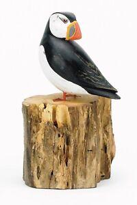 Archipelago Fair Trade Hand Carved Wooden Birds -Small Puffin Preening - D354