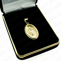 10K Solid Yellow White Rose Gold Virgin Mary Lady of Guadalupe Charm Pendant
