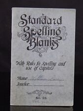 """Antique Rare 1910 """" Standard Spelling Blanks """" Booklet Notes & Drawings Inside!"""