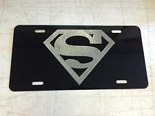 SUPERMAN LOGO Car Tag Diamond Etched on Aluminum License Plate