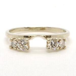 Ladies 14k White Gold 1/2Ctw Diamond Ring Guard Insert Enhancer Wedding Band
