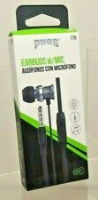 Pugs Gear 3.5mm Jack Earbuds Black Model 179 In Line Mic & 4' Flat Cable A200