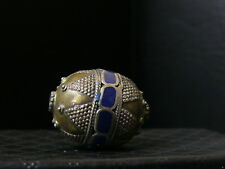 (eC004) Himalaya Old Tribal Silver Gold Washed Handmade Bead