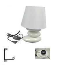Lume Lampada  Abat Jour Comodino Comò in Ceramica 28 cm E14 Bianca Moderna Dfh