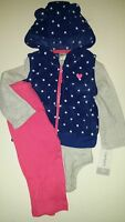 Carters Baby Girls Blue Dot Hoodie Grey Stripe Bodysuit Pink Legging 3-pc 9 mo