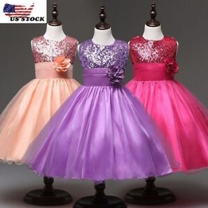 Wedding Glitter Sequin Tulle Flower girl Dress Toddler Bridesmaid Easter K101
