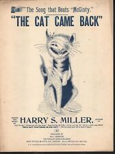 The Cat Came Back 1893 Large Format Sheet Music