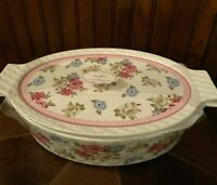 NWT GRACE'S PANTRY CASSEROLE OVAL VICTORIAN FLORAL  3 IN 1 COVERED DISH LIDDED
