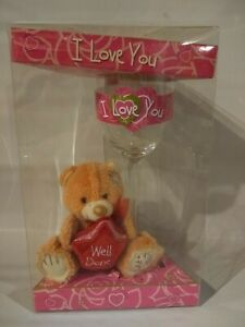 """4 1/2"""" Teddy Bear with 9"""" Glass Gift Well Done, I Love You, Great Gift"""